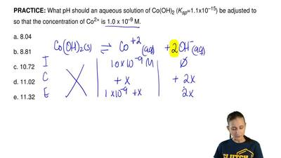 What pH should an aqueous solution of Co(OH) 2 (Ksp=1.1x10–15) be adjusted to ...