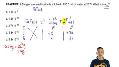 6.5 mg of calcium fluoride is soluble in 250.0 mL of water at 25 ̊C. What is i...