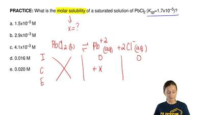 What is the molar solubility of a saturated solution of PbCl2 (Ksp=1.7x10–5)?...