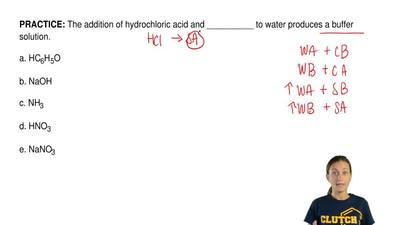 The addition of hydrochloric acid and __________ to water produces a buffer so...