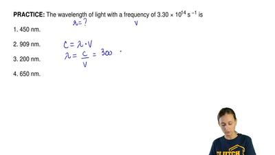 The wavelength of light with a frequency of 3.30 × 1014 s −1 is  1. 450 nm.  ...