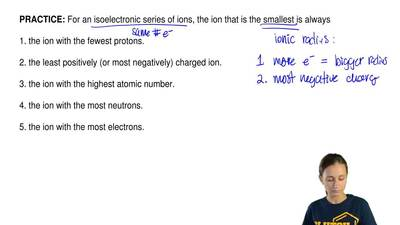 For an isoelectronic series of ions, the ion that is the smallest is always  1...