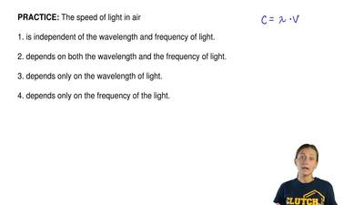 The speed of light in air  1. is independent of the wavelength and frequency o...