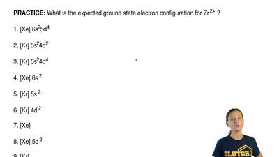 What is the expected ground state electron configuration for Zr 2+ ?  1. [Xe] ...