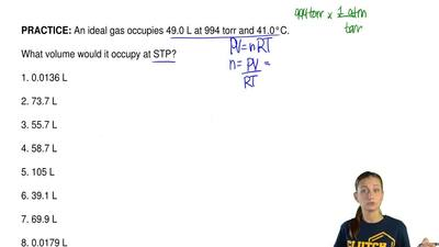An ideal gas occupies 49.0 L at 994 torr and 41.0°C.  What volume would it occ...