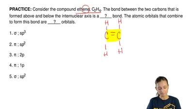 Consider the compound ethene, C2H4. The bond between the two carbons that is f...