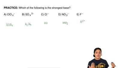 Which of the following is the strongest base?        A) ClO 4−          B) SO ...