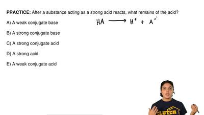 After a substance acting as a strong acid reacts, what remains of the acid?  A...