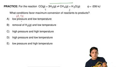 For the reaction  CO(g) + 3H 2(g) ⇌ CH 4(g) + H 2O(g)          q = -206 kJ    ...