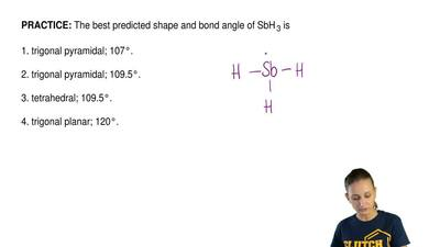 The best predicted shape and bond angle of SbH 3 is  1. trigonal pyramidal; 10...