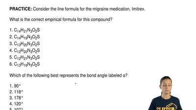 Consider the line formula for the migraine medication, Imitrex.  What is the c...