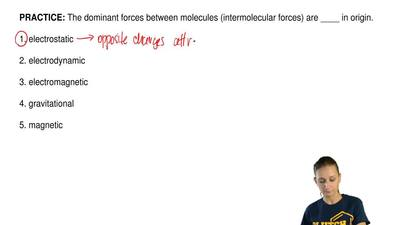 The dominant forces between molecules (intermolecular forces) are ____ in orig...