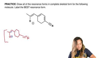 Draw all of the resonance forms in complete skeletal form for the following mo...
