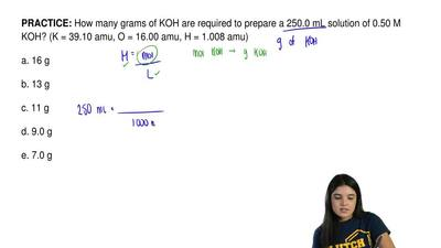 How many grams of KOH are required to prepare a 250.0 mL solution of 0.50 M KO...