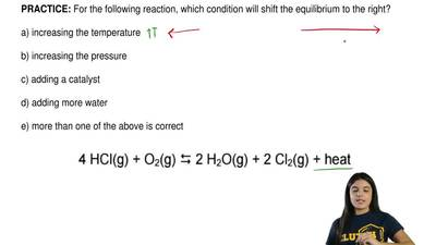 For the following reaction, which condition will shift the equilibrium to the ...