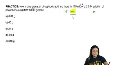 How many grams of phosphoric acid are there in 175 mL of a 3.5 M solution of p...