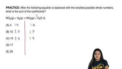 After the following equation is balanced with the smallest possible whole numb...