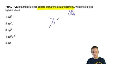 If a molecule has square planar molecular geometry, what must be its hybridiza...