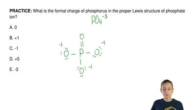 What is the formal charge of phosphorus in the proper Lewis structure of phosp...