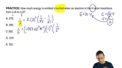 How much energy is emitted in kJ/mol when an electron in the H atom transition...