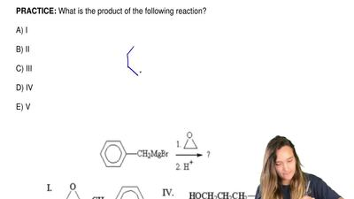 What is the product of the following reaction?  A) I  B) II  C) III  D) IV  E)...