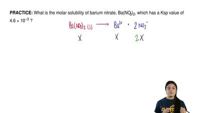 What is the molar solubility of barium nitrate, Ba(NO3)2, which has a Ksp val...