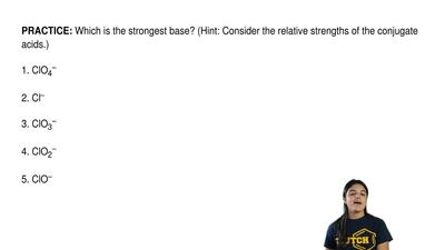 Which is the strongest base? (Hint: Consider the relative strengths of the con...