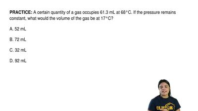A certain quantity of a gas occupies 61.3 mL at 68°C. If the pressure remains ...