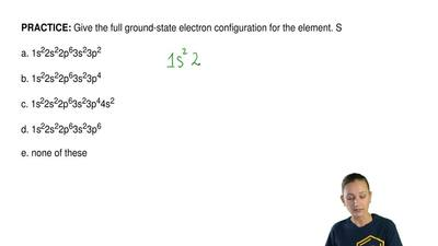 Give the full ground-state electron configuration for the element. S  a. 1s22s...