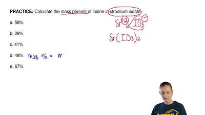 Calculate the mass percent of iodine in strontium iodate  a. 58%  b. 29%  c. 4...