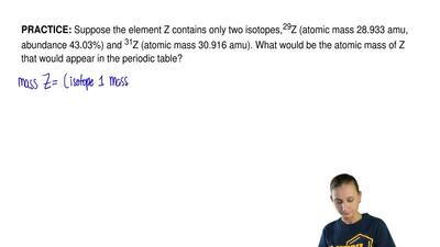Suppose the element Z contains only two isotopes, 29Z (atomic mass 28.933 amu,...
