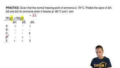 Given that the normal freezing point of ammonia is -78°C. Predict the signs of...