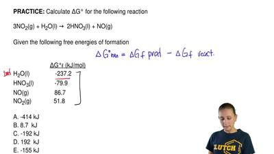 Calculate ΔG° for the following reaction  3NO2(g) + H2O(l) →  2HNO3(l) + NO(g)...