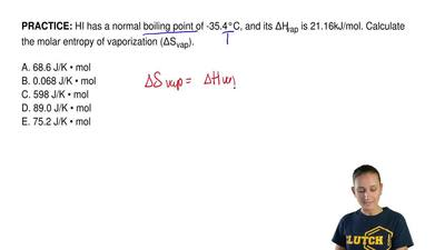 HI has a normal boiling point of -35.4°C, and its ΔHvap is 21.16kJ/mol. Calcul...