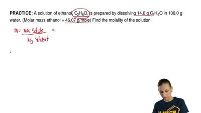 A solution of ethanol, C2H6O, is prepared by dissolving 14.0 g C2H6O in 100.0 ...