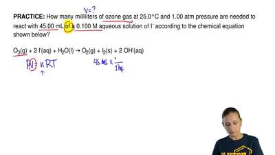 How many milliliters of ozone gas at 25.0°C and 1.00 atm pressure are needed t...