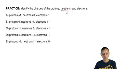 Identify the charges of the protons, neutrons, and electrons.  A) protons +1, ...