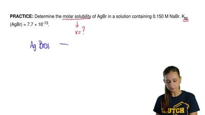Determine the molar solubility of AgBr in a solution containing 0.150 M NaBr. ...