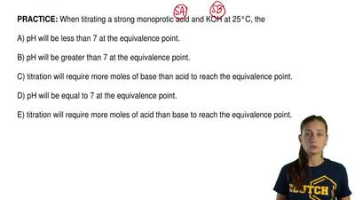 When titrating a strong monoprotic acid and KOH at 25°C, the  A) pH will be le...