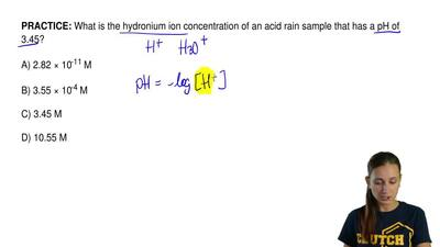 What is the hydronium ion concentration of an acid rain sample that has a pH o...