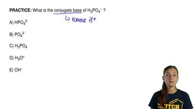 What is the conjugate base of H 2PO4− ?  A) HPO42-  B) PO43-  C) H3PO4  D) H3O...