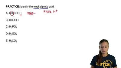 Identify the weak diprotic acid.  A) CH3COOH  B) HCOOH  C) H3PO4  D) H2SO4  E)...