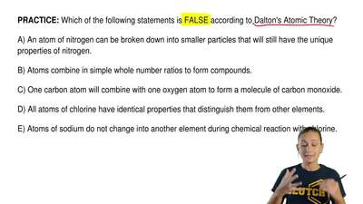 Which of the following statements is FALSE according to Dalton's Atomic Theory...