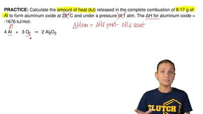 Calculate the amount of heat (kJ) released in the complete combustion of 8.17 ...