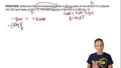 Determine the final temperature when a 25.0 g piece of iron at 85.0°C is place...