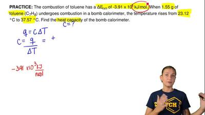 The combustion of toluene has a ∆Erxn of -3.91 x 103 kJ/mol. When 1.55 g of to...