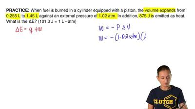 When fuel is burned in a cylinder equipped with a piston, the volume expands f...