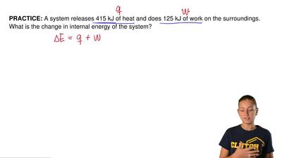 A system releases 415 kJ of heat and does 125 kJ of work on the surroundings. ...