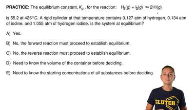 The equilibrium constant, Kp , for the reaction:    H2(g) + I2(g)  ⇋ 2HI(g)  i...