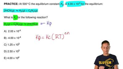 At 500°C the equilibrium constant, Kp, is 4.00 x10-4 for the equilibrium:  2H...